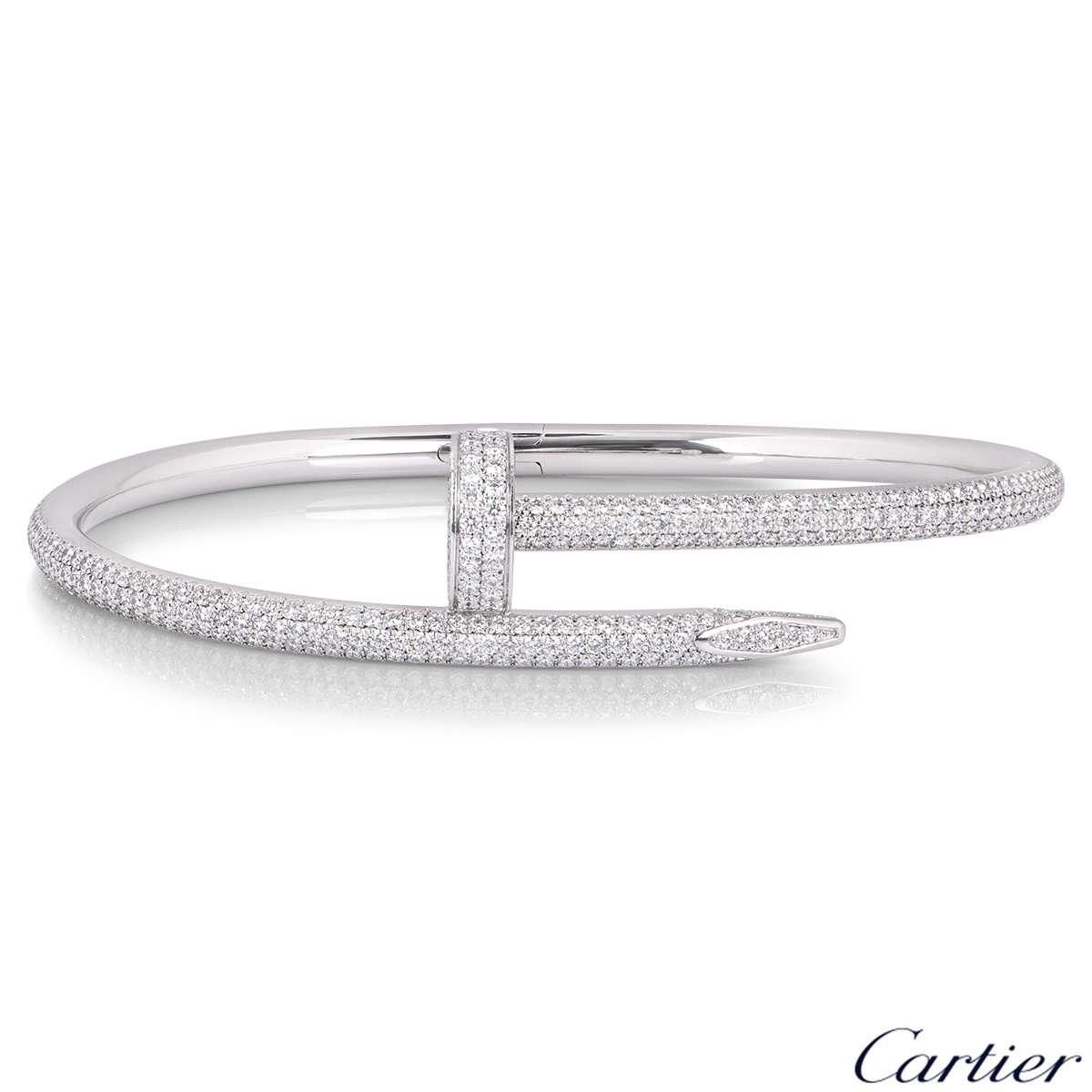 Cartier White Gold Diamond Juste Un Clou Bracelet Size 17 N6707317